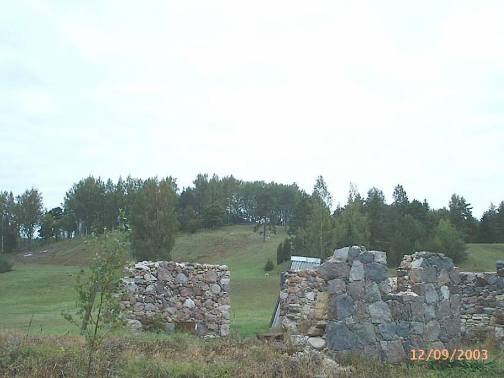 Vaade hiiemäele üle Liivaku talu varemete